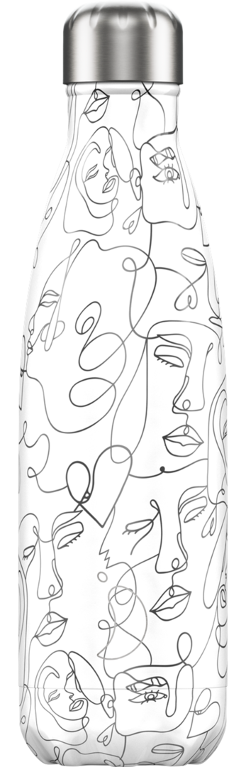 Chilly Bottle - Line Drawing Faces 500ml