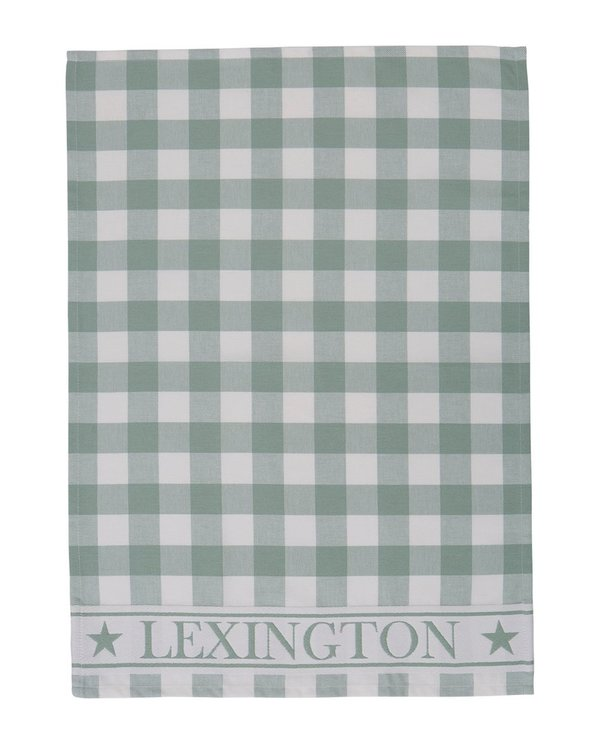 LEXINGTON Hotel Gingham Kitchen Towel, White/Green