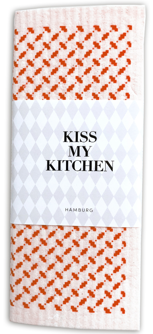 Kiss my Kitchen - Schwammtuch Pali pur white red