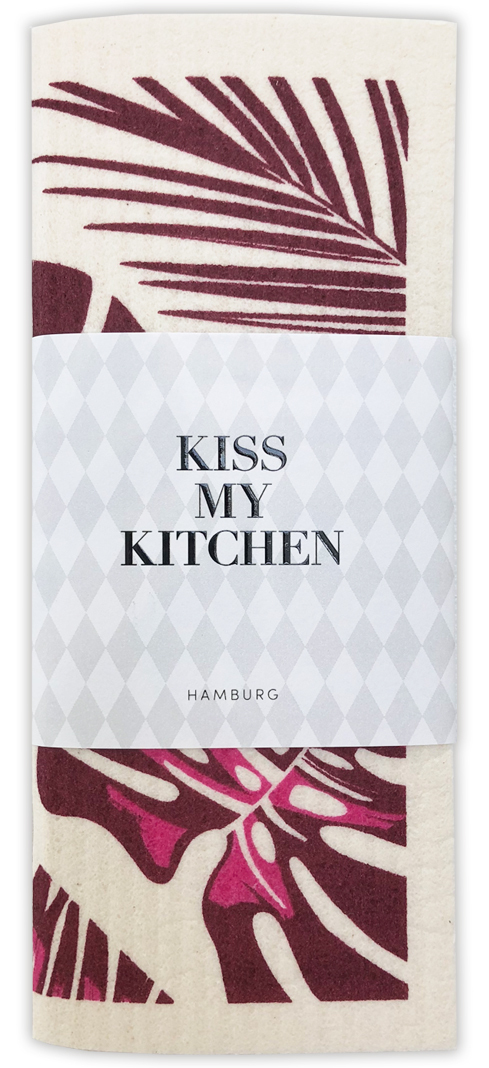 Kiss my Kitchen - Schwammtuch Urban Jungle bordeaux