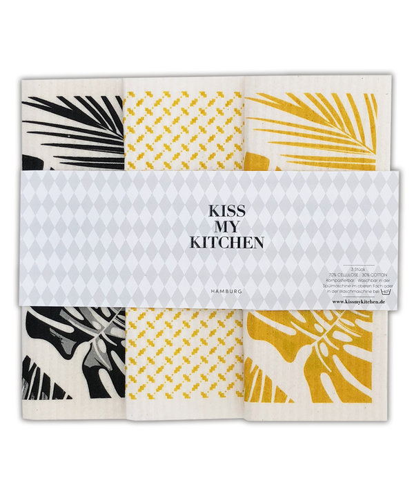 Kiss my Kitchen - Schwammtuch 3er Set Malibu