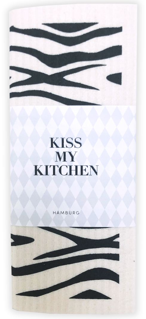 Kiss my Kitchen - Schwammtuch Wild black