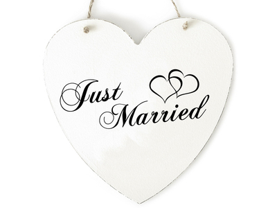 "Interluxe - Herz aus Holz ""Just Married"""