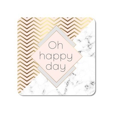 Interluxe - LED Untersetzer - Oh happy day in Marmor & Gold-Optik